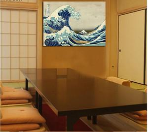 Estilo Japão Retro ondas sala de estar Decoração aventuras mar agitado Pintura Da Lona na parede de decoração para casa Pendurado sem moldura
