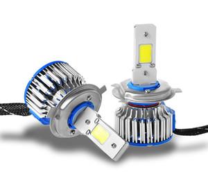 1 juego / kit con controladores Bombilla de reemplazo Haz de luz alta / baja H4 / HB2 / 9003 COB LED bombillas delanteras 60w 6400LM 6000K LED Lámpara antiniebla linterna impermeable
