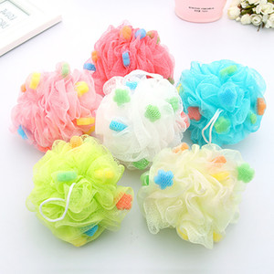 Nuevo Bath Ball Cepillos de Baño Exfoliaciones de Esponja de Puff Mesh Net Candy Colors Esponja de Malla Cepillo de Baño Suave Esponjas Scrubbers WX9-153