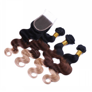 Body Wave Peruvian 3Tone 1B 4 27 Ombre Virgin Hair con cierre Dark Root Brown Honey Blonde Ombre 3Bundles con encaje 4x4