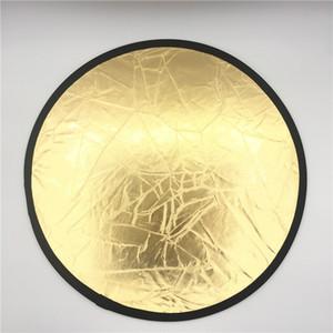 """Riflettore per luce a disco portatile pieghevole pieghevole da 23,6 """"/ 60 cm per foto 2in1 oro e argento"""