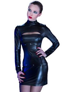 Новое Поступление Мода Сексуальная Высокая Круглый Вырез С Длинным Рукавом Черный Искусственная Кожа Фетиш Эротический Клуб Платье