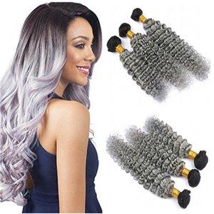 Virgen peruana # 1B / Gray Dark Root Ombre paquetes de armadura de cabello humano 3 Unids Deep Wave Silver Grey Ombre Extensiones de cabello humano dobles tramas