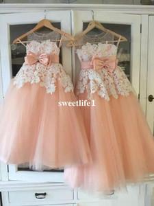 실제 이미지 2019 Peach Tulle Flower Girls Dresses 깎아 지른 보석 목 흰색 아플리케 Wasit With Bow with Garden 결혼식 첫 성찬식