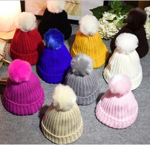 Bambini maglia berretti berretto con palla bella dolcevita pom pom beanie cappello autunno inverno cappello caldo per le ragazze del ragazzo del capretto all'ingrosso vendita calda