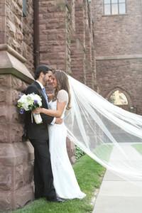 Top moda caliente Saling barato velo de marfil blanco catedral para vestidos de novia piezas de cabeza nupcial con el peine
