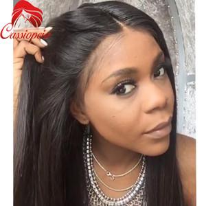 8A seidige gerade Menschenhaarperücken reines malaysisches Haar volle Spitze Perücke / Lace Front Perücke für schwarze Frauen volle Spitze Echthaar Perücken