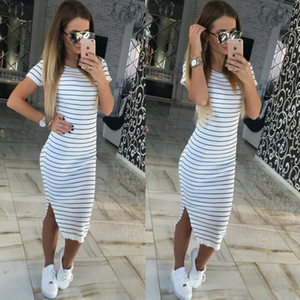 Summer Women Dress Short Sleeve Round Neck Slim Fit Bodycon Dress Striped Side Split T Shirt Womens Dresses plus size Dress sport vintage