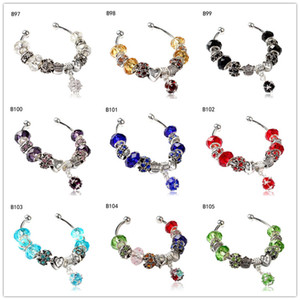 Wholesale women's Tibetan silver glass beads Charm Bracelet EMPDB11,heart crown DIY European Beads bracelet 6 pieces a lot mixed style
