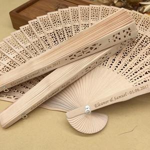 2018 envío libre de DHL a granel 100 unidslote de madera personalizado favores de la boda fan party sorteos sándalo abanicos plegables mano