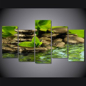 5 Pcs Set Framed Printed Stone green streams Painting on canvas room decoration print poster picture canvas Free shipping ny-4364