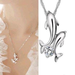 Niedlicher versilberter Doppeldelphin Rhinestone kurz-Kette Halskette Frauen Modeschmuck Großhandel N70