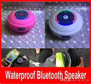 Colorful LED Waterproof Speaker Wireless Bluetooth Speaker with LED light Shower Car Handsfree Receive Call Suction Mic for iPhone.