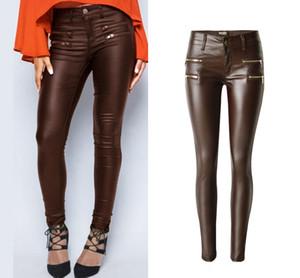 Женская коричневая искусственная кожа с низкой талией эластичные брюки с двойным дизайном на молнии брюки плюс размер
