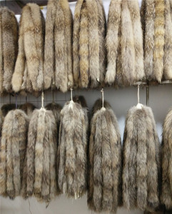 Реальный меховой воротник 100% подлинный енот меховой шарф 70см зима для женщин горячая продажа