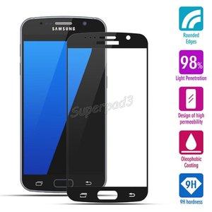Сотовый телефон протектор экрана 9 H твердость фронт полный охват закаленное стекло экрана гвардии фильм для Samsung S7 200 шт. DHL Бесплатная доставка