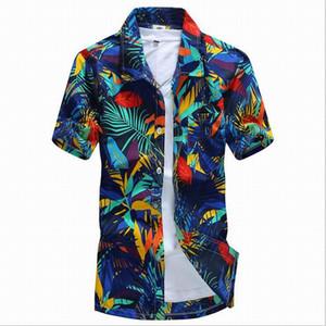 All'ingrosso-2016 Hawaii Style Uomo camicie floreali Sandy spiaggia Estate Camise manica corta Fit Camicie uomo Camicia stampa Plus size 4XL D5158
