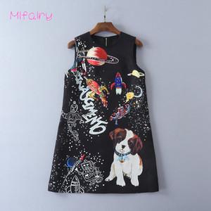 2017 Siyah O Boyun Kolsuz Kısa Jumper Etek Köpekler Uzay Adam Jakarlı Bir Çizgi kadın Elbise 92411