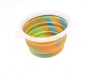 50pcs 무료 배송 위장 개 사발 고양이 애완 동물 여행 그릇 실리콘 접을 수있는 급수 접시 피더 휴대용 물 그릇