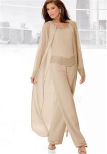 2020 Новый дизайн Формальное Шампань Bridal матери Брюки Костюмы Плюс Размер шифон бисер кристалл с куртки вечернее платье свадебное платье для гостей
