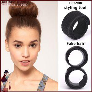 Toptan Satış - Toptan-2015 Yeni Sahte Saç Hairagami Bun Uzatma Updo Sentetik Saç Bandı Aksesuarları Chignon Postiş Şapkalar Firkete Styling Aracı