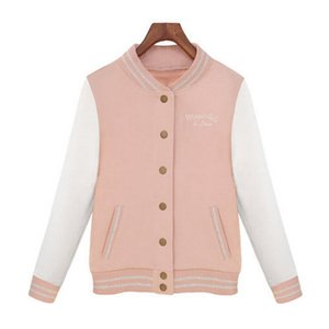 1pcs Jersey 2017 Fashion Women Long Sleeve Slim Baseball Uniform outerwear bomber jacket baseball jacket High Quality