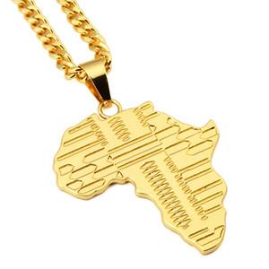 Monili di alta qualità degli uomini di modo placcato oro 18K collana di disegno di Hip Hop della roccia Micro Mappa Ciondolo d'Africa Lunghezza catena 75 centimetri