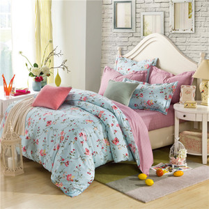 Vintage Blue Floral Reactive Printing 100% Cotton Bedding Set Bed Linen, Duvet Cover Bed sheet Pillowcase Set Gift Home Textile