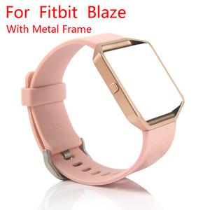 Cinturino di ricambio per bracciale in silicone Fitbit Blaze Band con montatura in oro rosa / argento per Fitbit Blaze Smart Fitness Watch
