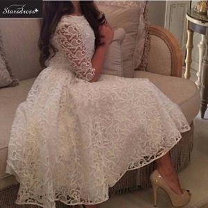 Nouvelle arrivée 2016 blanc une ligne scoop manches longues en dentelle robes de soirée formelles de charme belle robe de bal robe de bal