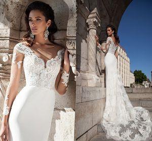 Élégante Nouvelle arrivée Robes de mariée blanche vintage Sheer manches longues en dentelle Robes de mariée avec Appliques overskirts robes de mariée Custom Made