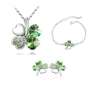 Free Gifts Bracelet Gold Crystal Green Shipping Sets 4 18K Necklace Austrian Plated Clover Crystsal White Earrings Leaf Jewelry Four Igwjx