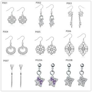Boucle d'oreille en argent 925 avec des pierres précieuses pour femmes de vente d'usine de mode 10 paires beaucoup, argent sterling plaqué Dangle Chandelier boucles d'oreilles EMP10