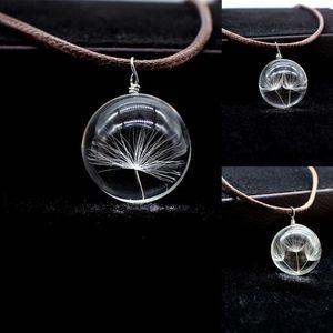 Charms Dandelion Glass Cameo Ball Colgante de cuero encerado Collar de algodón Joyería de moda