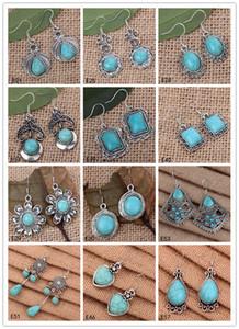 Alta qualidade das mulheres DIY prata tibetana turquesa brinco 12 peças muito estilo misto, flor redonda Europeia Beads Dangle brinco GTTQE7