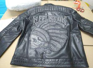 qltrade_5 Affliction leather jackets Indian head تطريز 100 ٪ جلد طبيعي دراجة نارية سترة جلدية