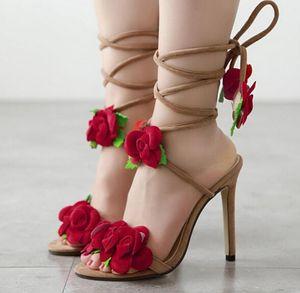 Grande Tamanho 40 Sapatos Mulher Sandálias de Salto Alto Europeu Summer Rose's Rose Cross Amarrado sandálias de salto alto Mulheres Dedo Do Pé Aberto Sapato Feminino Apricot
