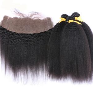 몽골 인간의 머리카락 번들과 정사각형 직선 레이스 정면 4PC / 로트 거친 귀의 귀에 귀 머리 전체 레이스 정면