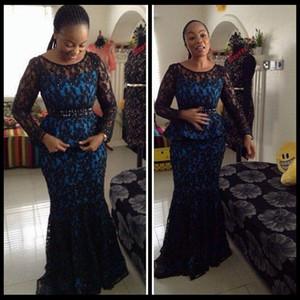 Laço preto de manga comprida vestidos de noite mãe dos vestidos de noiva 2016 estilo africano nigeriano vestidos de baile de renda