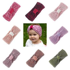 Inverno do bebê malha Headband Crianças Lã Hairwrap Ear Warmer cabelo faixa de cabelo Crochet Acessórios Meninas Bow Headwear