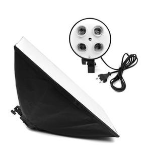 Freeshipping Camera Photo Studio Kit Fotografía Iluminación 4 Socket Lamp Holder + 50x70CM Softbox Photos Soft Box No incluido 2m Light Stand