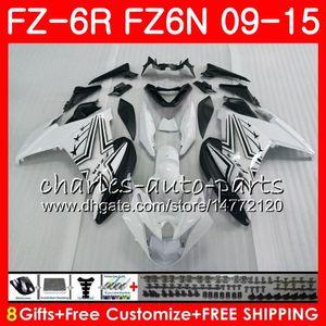 Cuerpo para YAMAHA FZ6 blanco negro FZ6N R FZ6N FZ6R 09 10 11 12 13 14 15 82NO4 FZ6R FZ FZ 6 N 6R 2009 2010 2011 2012 2013 2014 2015 carenado