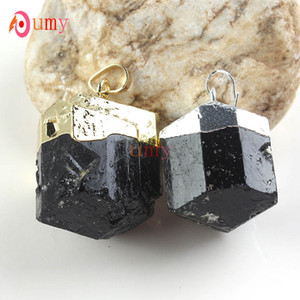 الجملة 10 قطع الذهب / الفضة مطلي رائع الطبيعية التورمالين الأسود حجر شكل عشوائي البندول قلادة الأزياء والمجوهرات