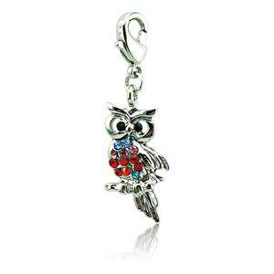 Moda Animal Flutuante Fecho Da Lagosta Encantos Banhado A Prata Multicolor Rhinestone Owl DIY Para Fazer Jóias Acessórios