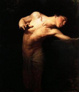 Gyula BENCZÚR - junger Mann Porträt Narzisse in Landschaft, Kostenloser Versand Handgemalte Porträtkunst Ölgemälde auf Leinwand, Multi-Größen
