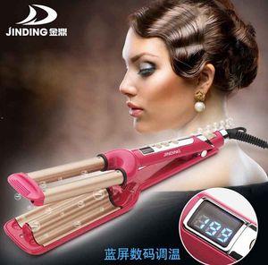 AC220V-240V 60W Mode Trois rouleaux de poulet LCD contrôle Céramique Triple Barils Fer À Friser Deep Wave Bigoudi Cheveux Waver