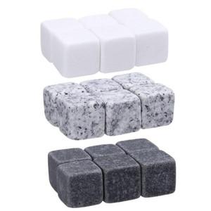 Natural Uísque Pedras Sorvendo Cubo de Gelo Pedra Whisky Rock Cooler Natal Festa de Casamento Bar Beber Acessórios 6 pçs / set OOA3616
