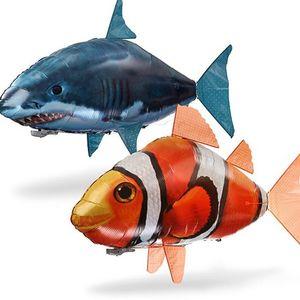Air Swimmer IR RC Shark Clownfish Flying Fish Assembly المهرج السمك التحكم عن بالون نفخ أطفال ألعاب + حزمة البيع بالتجزئة
