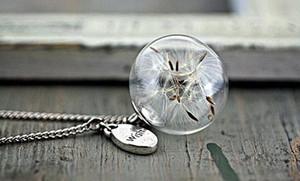 collar de plata con Real Dandelion Seeds en orbe de cristal y joyas de regalo con encanto