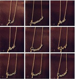 A la venta joyería de moda 12 muestras del zodiaco Carta collar de los colgantes, collar Cavicle, Aries / Tauro / Géminis, con material de aleación,